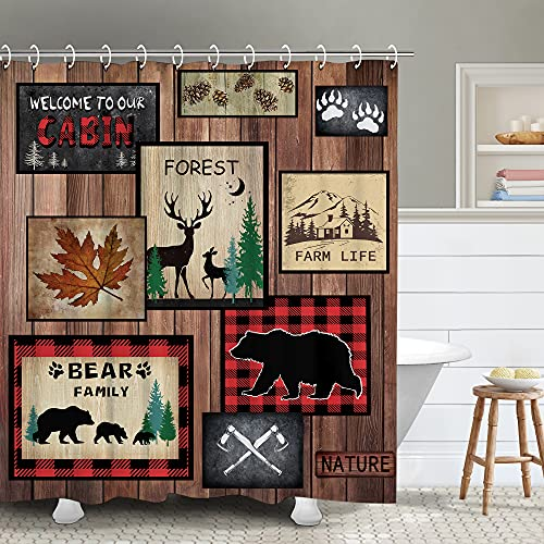 RosieLily Cabin Shower Curtain, Halloween Shower Curtain, Bear Deer Moose Country Lodge Hunting Gun Wildlife Woodland Bathroom Curtain with Hooks, 72W x 72H Inch Extra Long Primitive Shower Curtains
