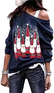 Macondoo Womens Plus Size Santa Autumn Blouse Long Sleeve Print Sweatshirts