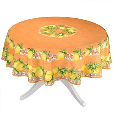 "Citrus Orange French Provencal Tablecloth - 70"" Round"