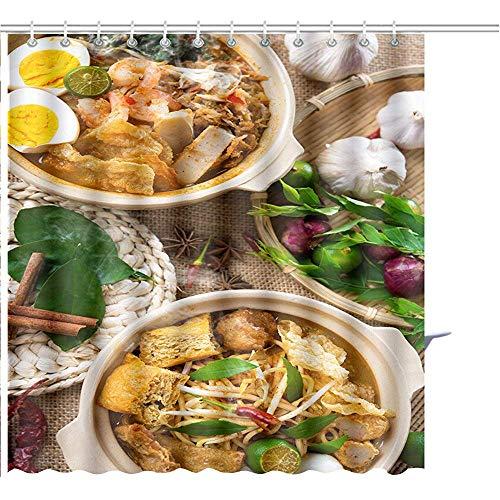 Duschvorhang Hot Spicy Curry Nudeln Oder Laksa Mee Garnelen Nudeln Mit Heißem Dampf In Clay Potation Graphic Polyester Badezimmer-Sets Mit Haken 122X183CM