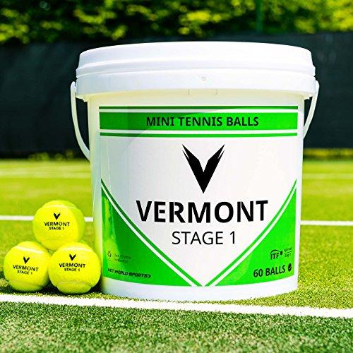 Vermont Tennisbälle | Training Tennisbälle - ITF-genehmogte Tennisbälle - alle Spielplatzoberfläche (Mini Grün (Stufe 1), 60 Bälle Eimer)