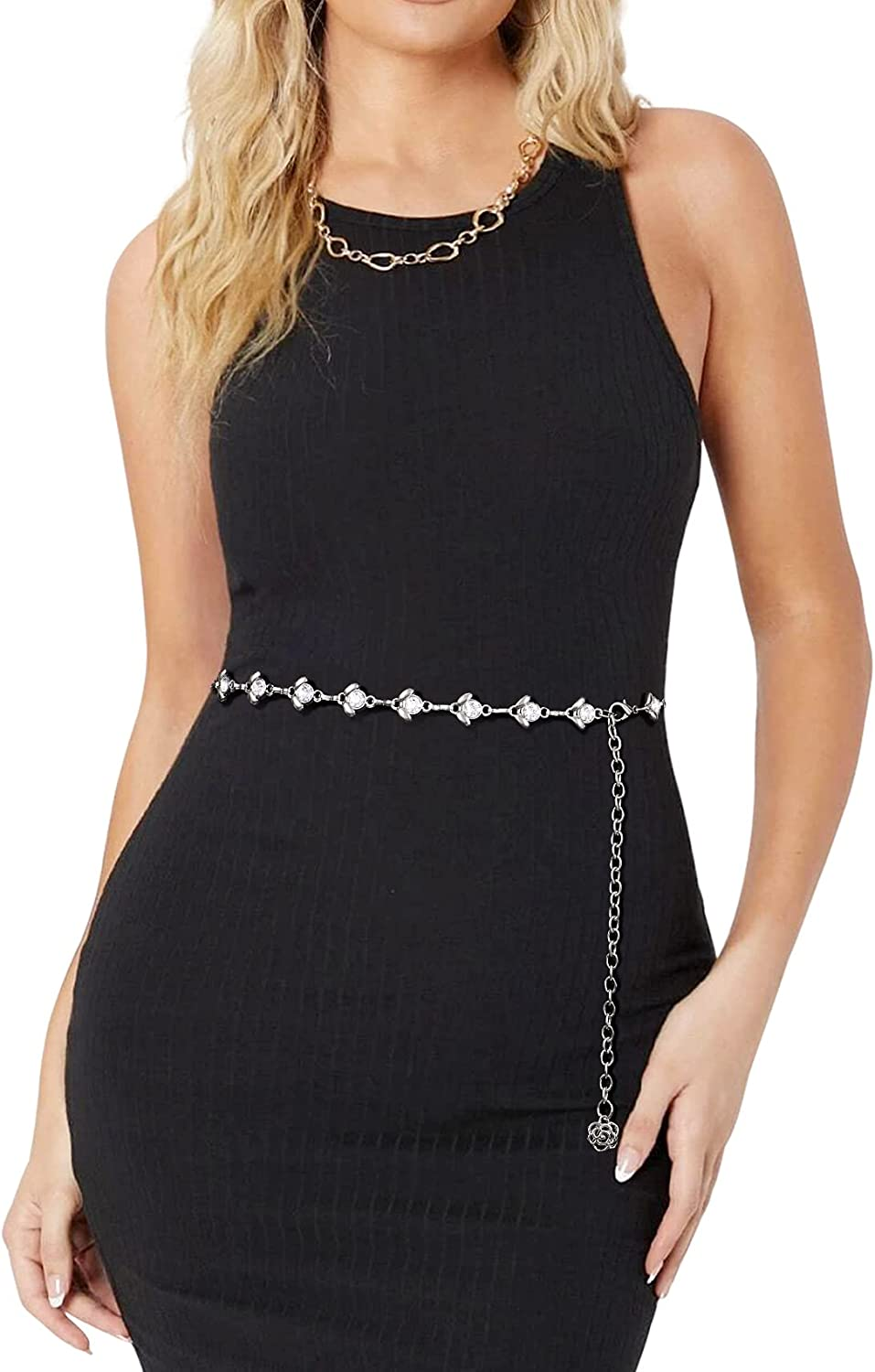 Waist At the price Chain Belts for Women Miami Mall Rhinestone Bel Fashion Crystal