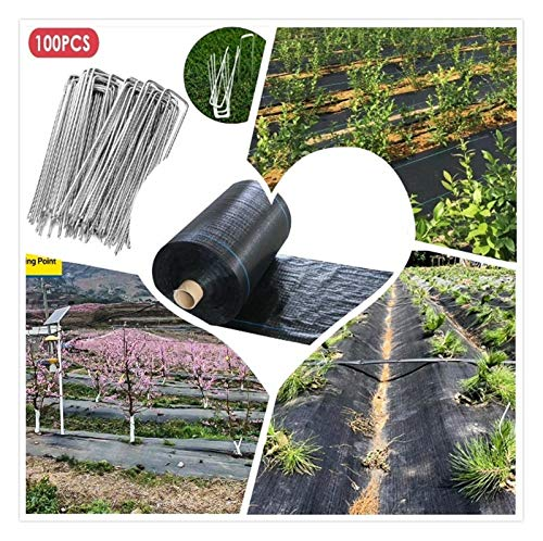 WYNZYFGF WY Heavy Duty Weed Control Fabric Woven Weed Suppressant For Patios Garden Flower Beds Landscaping,With 100 Nails f1-8 (Size : 0.5 * 80M)
