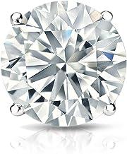 14k Gold Round SINGLE Diamond Stud Earring (1/8 to 1cttw, J-K, I2-I3) 4-Prong Basket set with Screw-back Diamond Wish