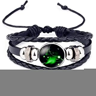 Luminous 12 Constellations Leather Bracelet Zodiac Sign with Beads Bangle Bracelets For Men Glow in the Darkness Jewelry