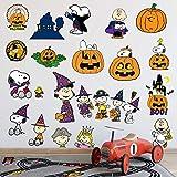 Calabaza fantasma cara Snoopy Halloween dibujos animados etiqueta de la pared habitación de los niños dormitorio decoración Pvc extraíble impermeable papel pintado 60 * 90 cm