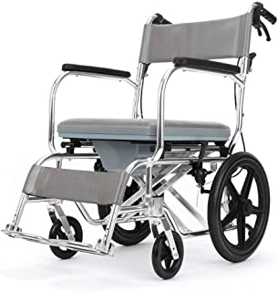 XBCOOK Lightweight Transit Travel Wheelchair with Handbrakes - Manual Wheelchair with Toilet Multifunctional Aluminum Folding Portable Disabled Potty Trolley - Light Grey