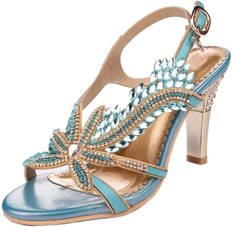 YooPrettyz Women Open Toe shoes Glittery Crystals Dress Sandal Ankle Strap Leather Sandal