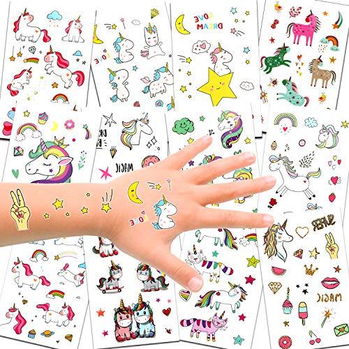 Konsait 300 x 72 x Tatouages temporaires de Licornes, Tatouages ephémères Enfants,Anniversaire Licorne d'enfant, Petit Cadeau Pinata, Motifs avec accessoired de Licornes pour Filles