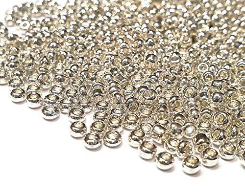 Juego de 1100 cuentas de cristal de 4 mm, 6/0, perlas de pony, transparentes, pequeñas cuentas para niños, cuentas de metal y color a elegir (plata pulida)