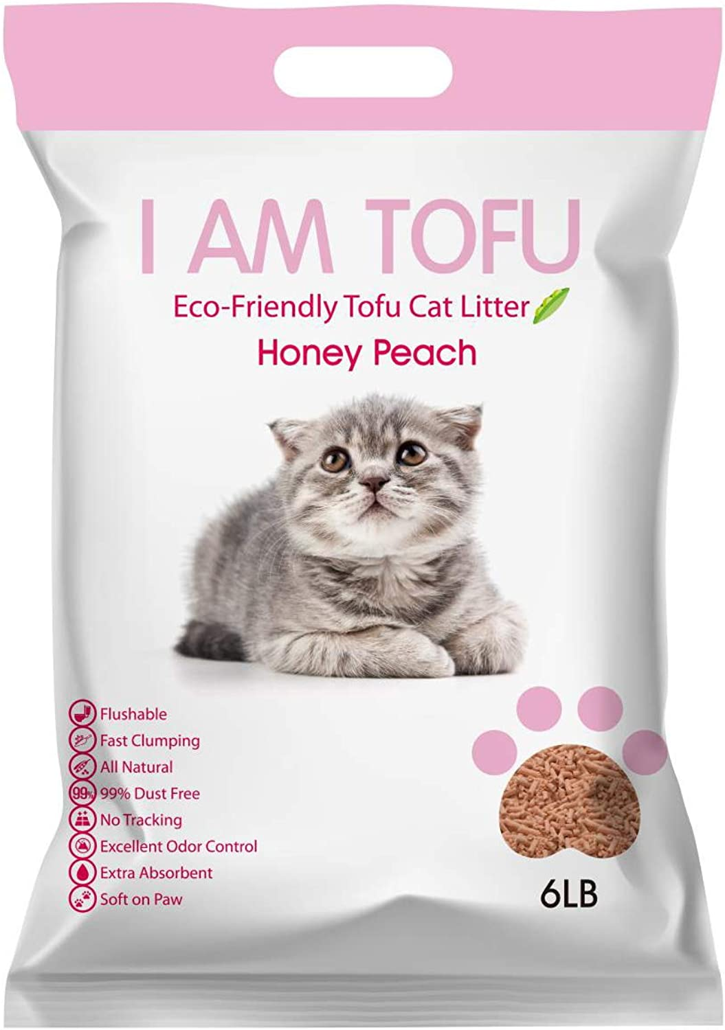 I AM TOFU  Tofu Cat Litter, EcoFriendly Flushable Pellet Litter, Made by SOYA Bean, 6lb, Honey Peach