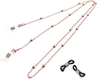 Kalevel Eyeglasses Glasses Neck Chain Eyeglass Chains and Cords,Snake Chain Style (Rose Gold)