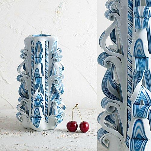 Große, blaue und weiße Hawdala-Kerze - sanfte Farben - dekorativ geschnitzte Kerze - EveCandles