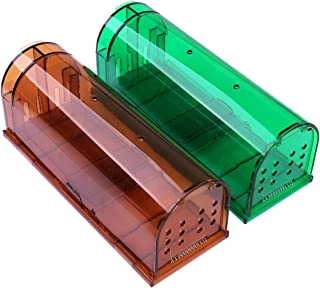 iZion 2 Pack Humane Mouse Trap, Smart No Kill Mice Mouse Trap Live Catch and Release, Reusable Cage Box for Small Rats Moles Hamsters Voles, Safe for Children and Pets Large Size, Green&Brown