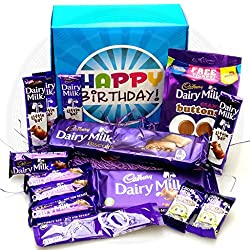 Image: The Ultimate Cadbury Dairy Milk Chocolate Lovers Happy Birthday Gift Box - By Moreton Gifts - Dairy Milk Chocolate Bars, Buttons, Freddo, Hot Chocolate