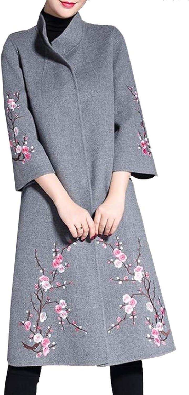 PujinggeCA Women's Fashion Notched Lapel Embroidery Print Winter Long Coat