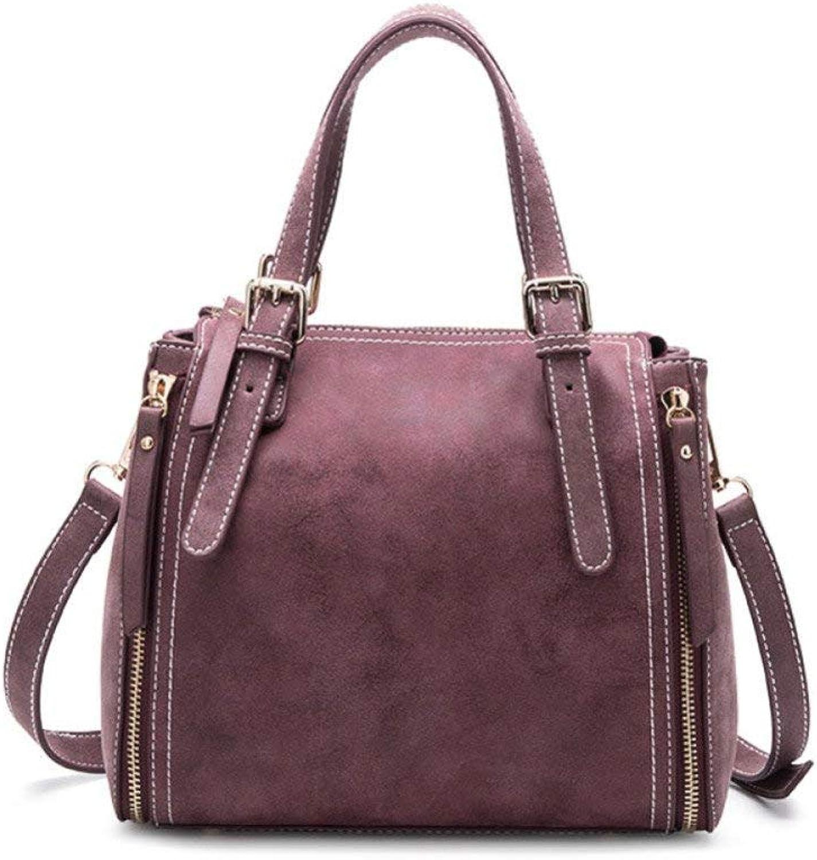 Eastery Handtaschen Damen Taschen Shopper Tasche Handtasche Leder Beuteltasche Scrub Ledertasche Einfacher Stil Schulter Messenger Bag Joker Taschen (Farbe   lila, Größe   One Größe)