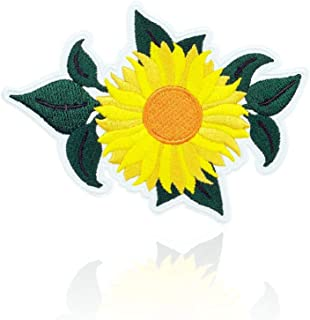 Sunflower Patch Iron on & Sew Yellow Flower on Embroidered Applique Decoration DIY Craft for Tshirts, Denim Jackets, Hats, Bags