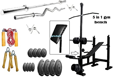 RjKart Home Gym 5 in 1 Bench with 4kg PVC Plates +3 ft curl Rod + 5 ft Straight Rod