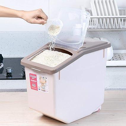 Dittzz 15KG Recipientes para Cereales Sellado a Prueba de Humedad,con Taza de medici/ón,38.5 x 23.5 x 33 cm Hermeticos Contenedores de Alimentos Cajas de almacenaje de Pl/ástico sin BPA