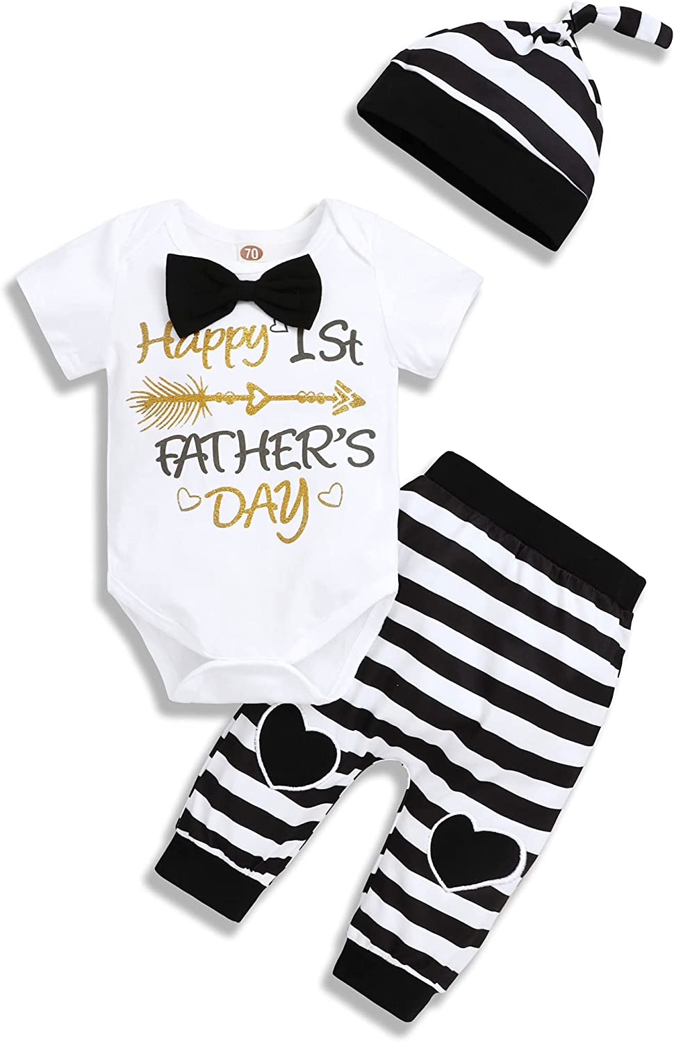 Newborn Baby Boy Clothes Outfits Infant Romper Onsies Bodysuit Letter Happy Father's Day