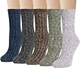 5 Pairs Womens Wool Socks Winter Warm Thick Knit Cabin Cozy Casual Crew Socks Gifts,Multi D