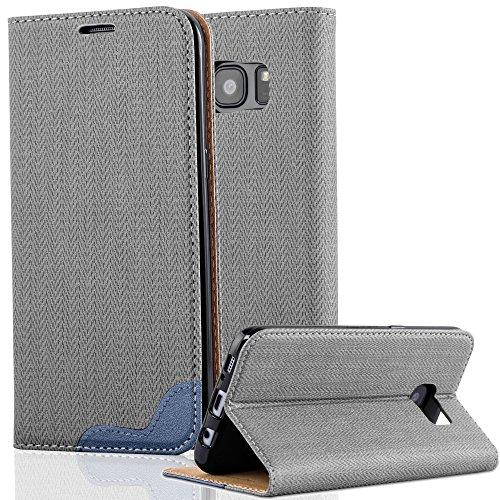 Cadorabo Samsung Galaxy S7 Edge Funda de Cuero Sintético Rafia en Gris Azul Cubierta Protectora Estilo Libro con Cierre Magnético, Tarjetero y Función de Suporte Etui Case Cover Carcasa