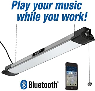 Commerical Electric 40 in. LED Brushed Nickel Shop Light with Bluetooth Speakers, Bright White, 4000K, 3500 Lumens, 50-Watt, Plug In