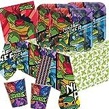 Amscan/Hobbyfun Set de fiesta de 41 piezas, diseño de las Tortugas Ninja Mutantes Adolescentes, platos, vasos, servilletas, mantel y pajitas para 8 niños