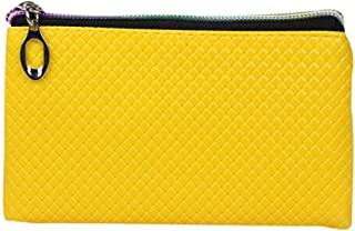 (TM) Women Candy Color PU Leather Mini Square Wallet Coin Purses Money Bags Gift (Yellow)