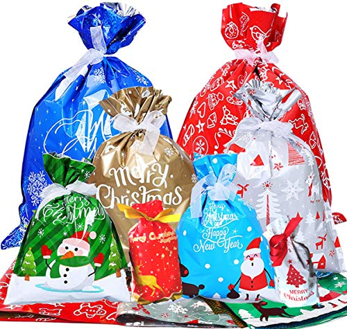35 PCS Wrapping Bags ,Sacks Mylar Bags Assorted Size Plastic Party Upgraded for Xmas Presents Party Favor,Large Medium Small