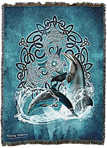 Celtic Dolphin by Brigid Ashwood Blanket Throw Woven from Cotton - Made in The USA (60x50)