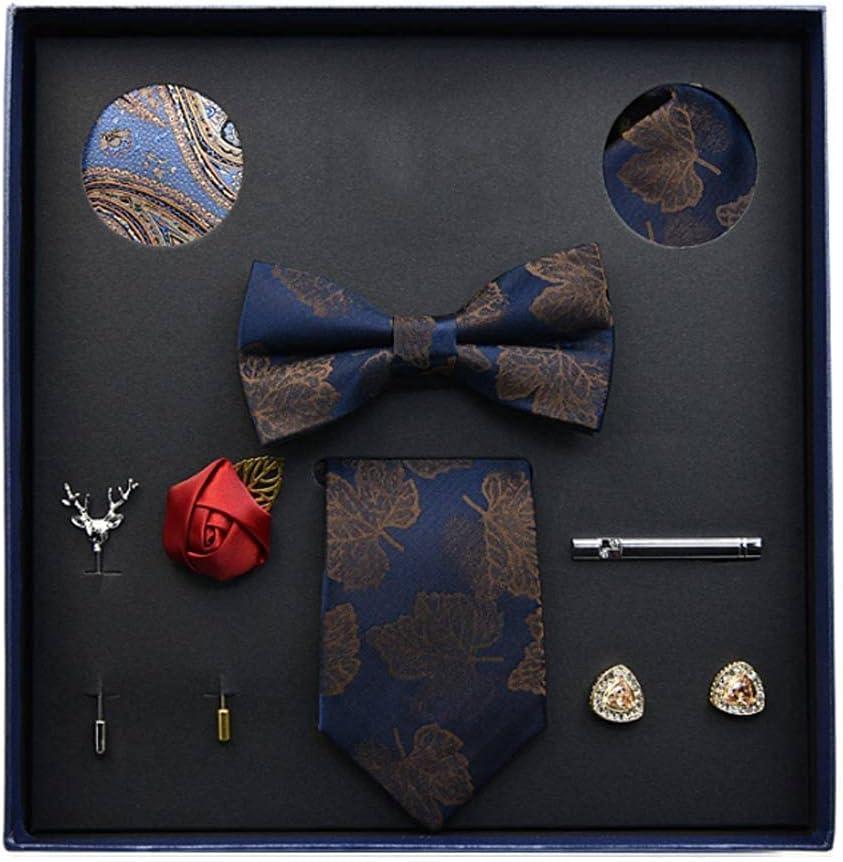 NJBYX Gift Box Packing Men's Vintage Floral Formal Cravat Ascot Tie Self British Style Gentleman Silk Tie Set (Color : C)