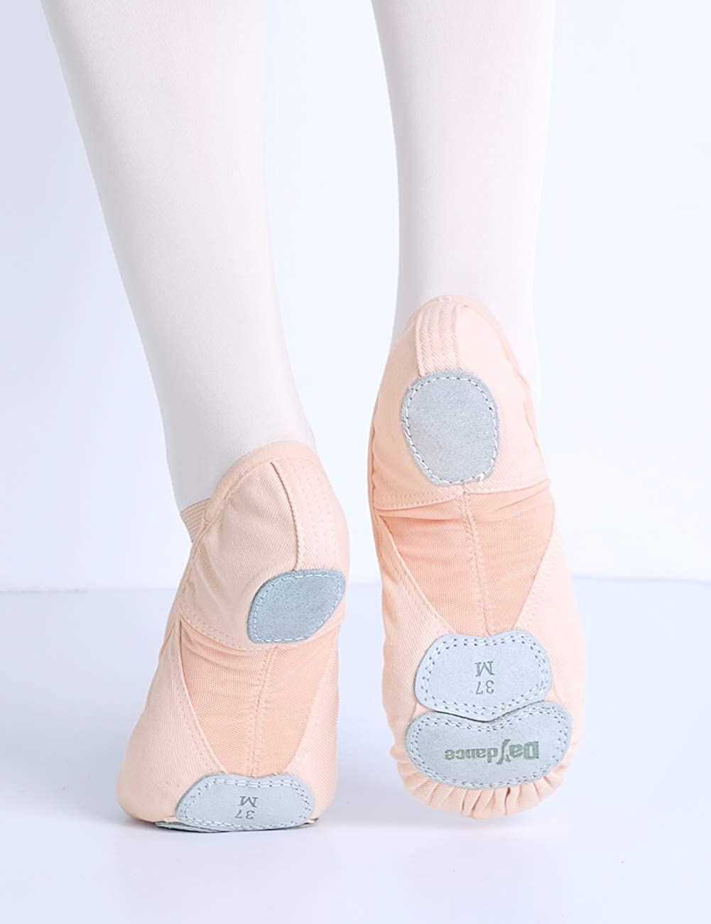 Professional Stretch Canvas Yoga Dance Slippers//Flats Three Pieces Leather Sole Ballet Shoes for Women