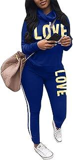 Women's Love Print 2PCS Sports Tops Striped Long Pants Tracksuit Sweatshirt Sweat Suit Jogging Set