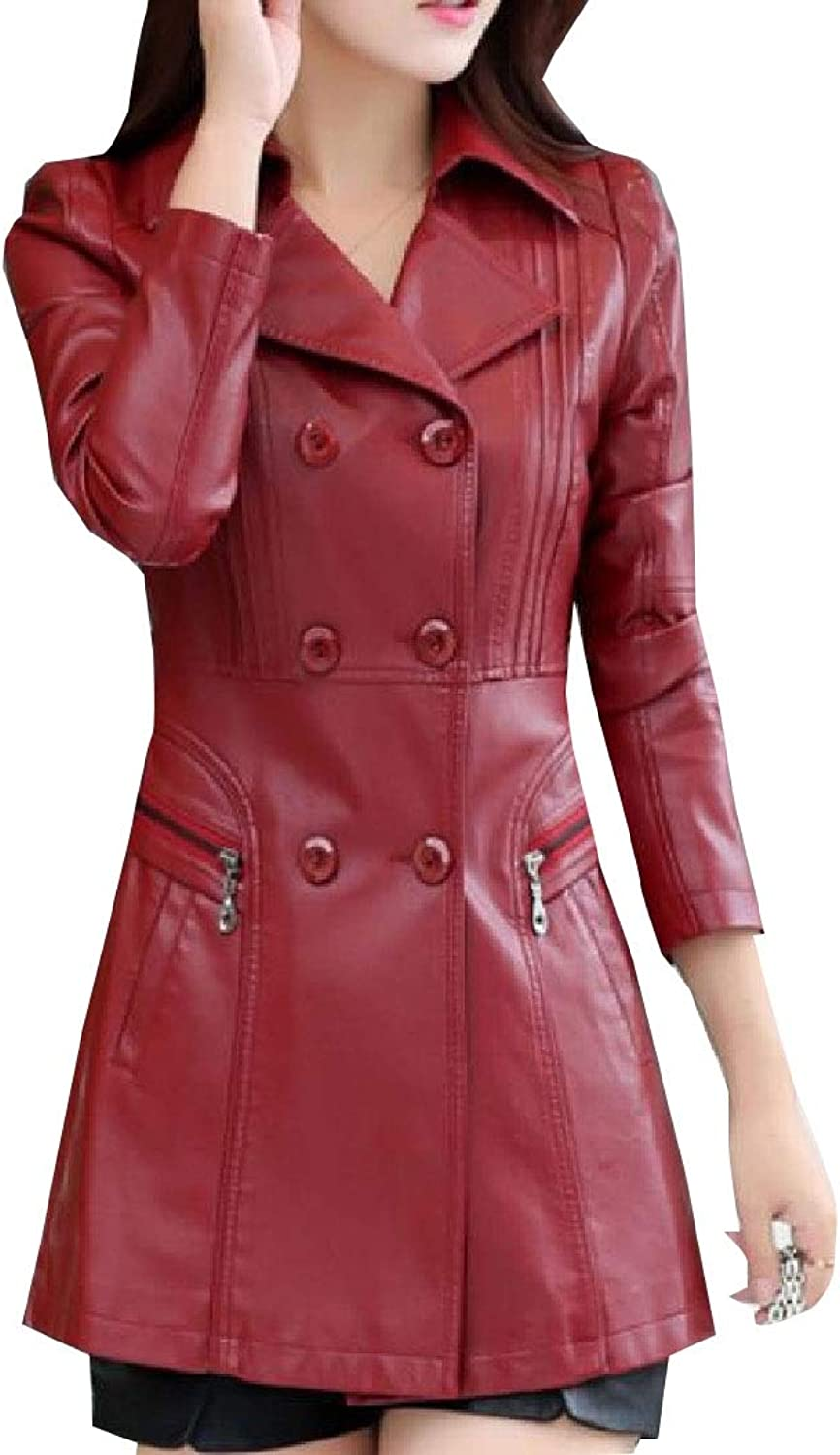 Maweisong Women Elegant Lapel Double Breasted Faux Leather Trench Coat Jacket