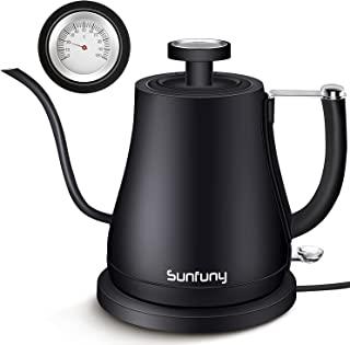 Electric Gooseneck Water Kettle with Thermometer,3-IN-1 Pour Over Coffee Boiler Tea Heater with Stainless Steel Inner Lid...
