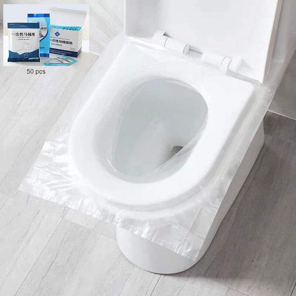 50 PCS Disposable Toilet Seat Covers, Portable Travel Toilet Mat for Pregnant Mom, Toddler Potty Training, Waterproof& Individually Packing, Public WC Toilet Mat