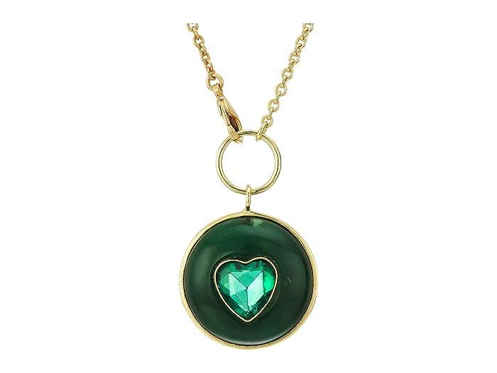 SOLE / SOCIETY  32 Heart Medallion Pendant (12K Soft Polish Gold/Green Aventurine/Emerald) Necklace