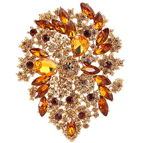 EVER FAITH Women's Austrian Crystal Vintage Style Flower Leaf Cluster Brooch Pendant Brown Gold-Tone