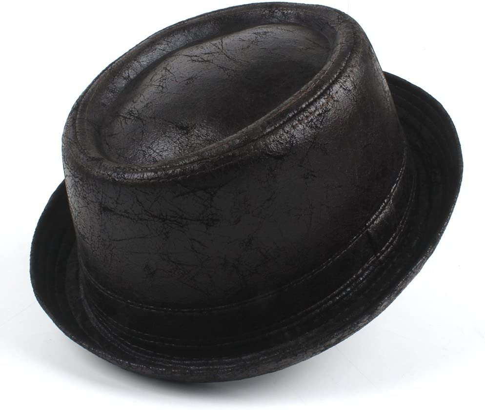 TWEITIE Men's Black Leather Pork Popular brand in the world Pie Fedora Hat Gentleman Bo Recommendation for