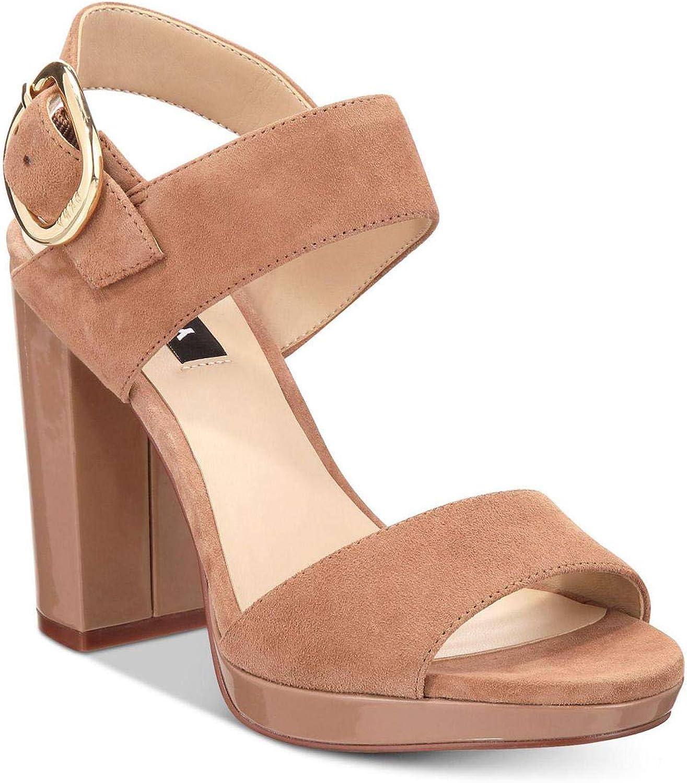 DKNY Womens Bell Suede Block Heel Slingback Sandals