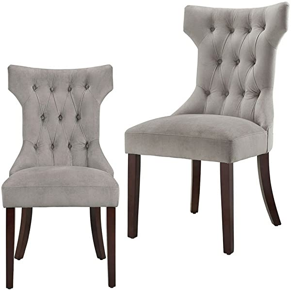 Curved Dining Chair Set Of 2 Buttoned Tufted Plush Microfiber Upholstery Foam Pudded Wooden Legs Hourglass Modern Grey And Espresso Dining Chair Set EBook By Easy FunDeals