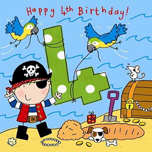 Twizler Geburtstagskarte zum 4. Geburtstag, für Jungen, mit Piraten und Kristallen