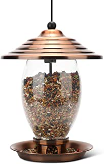 REALEAD Bird Feeder, Wild Bird Feeder for Outside,Metal and Glass Bird Feeder 3 lbs Seed Capacity, Outdoor Hanging for Gar...