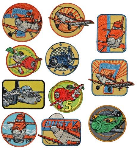 4 tlg. Set: Bügelbild - Disney Planes Sprühflugzeug- Dusty und seine Freunde- 8,6 cm * 6,8 cm - Aufnäher Applikation Flugzeug Piper Pawnee