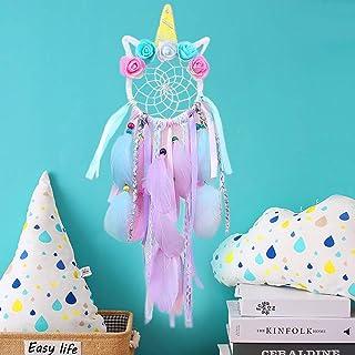 SPECOOL Unicornio Dream Catchers for Kids, Atrapasueños para Niños Atrapador de Sueños Hecho a Mano Flower Pink Dream Catcher para el Dormitorio de Las Niñas Colgante de Pared Decoración