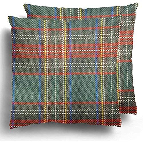 Sweet-Heart Fundas de cojín de Tela Escocesa Verde a Cuadros Patrón de tartán escocés Tradicional útil como Funda de cojín de Cuadros Rojos de Navidad