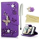 Mavis's Diary iPhone SE Case,iPhone 5S 5 Case Bling Glitter Diamonds Crystal Butterfly Wallet PU Leather Cover Magnetic Card Slots /Stand /Strap with Dust Plug &Stylus Purple/Diamond Butterfly