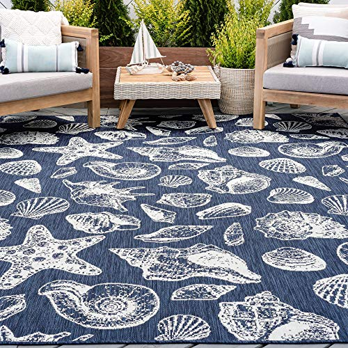 Navy Water Resistant Jute Large Indoor Outdoor Patio Rug 8x10 - Garden Deck Entry Porch Entryway Outside Waterproof Outdoor Carpet Clearance, Camping Area Alfombras para Exteriores